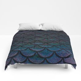 Midnight Blue Black Scales Comforters