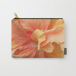 Tropical Peach Hibiscus Carry-All Pouch