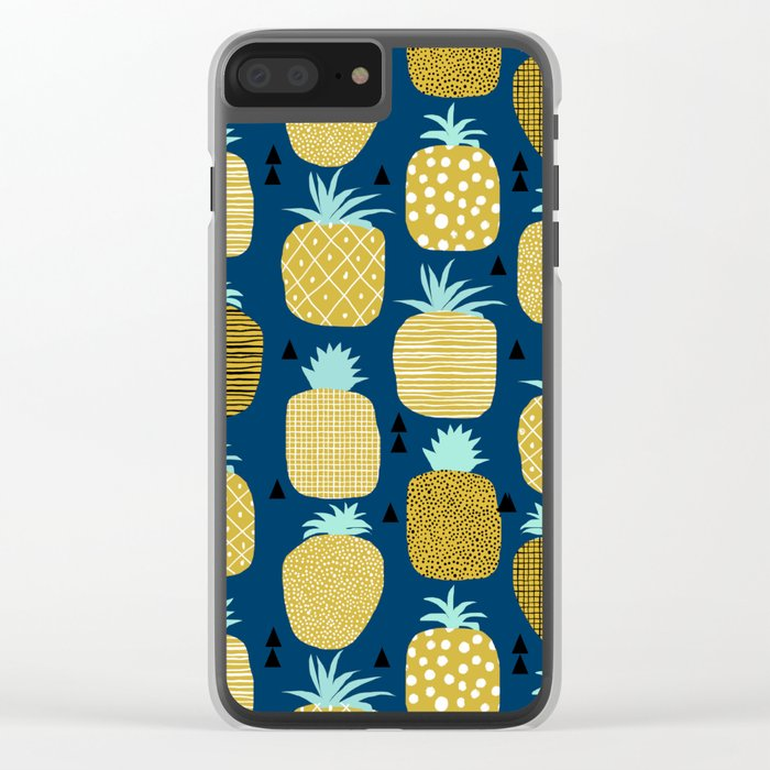 Pineapple tropical navy stripes pattern summer fruits print pillow phone case Clear iPhone Case