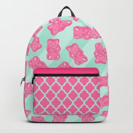 Pink Gummi Bears on Mint Background Pattern Backpack