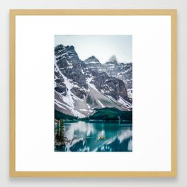 Paddling on Moraine Lake Framed Art Print