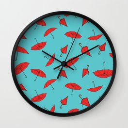 Red Umbrellas Repeat Pattern Print Wall Clock
