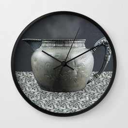 Pewter Cup on Tablecloth Wall Clock
