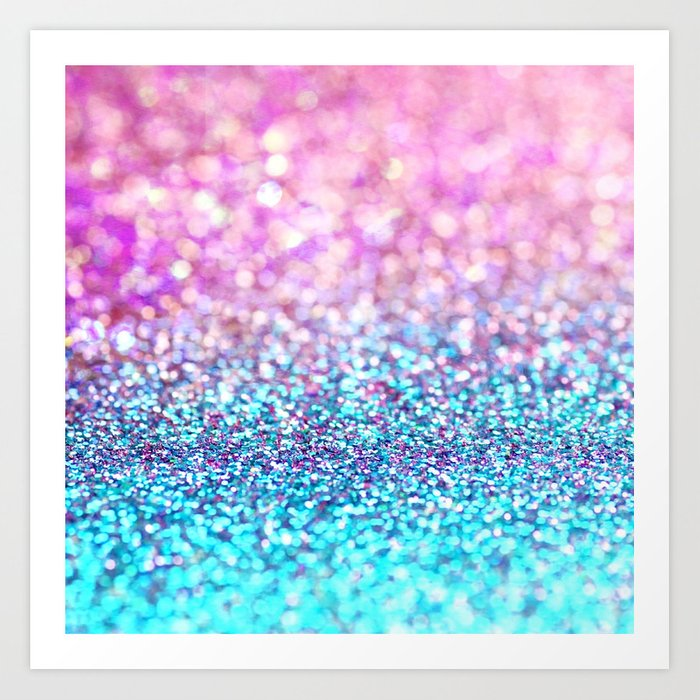 Pastel Sparkle Photograph Of Pink And Turquoise Glitter