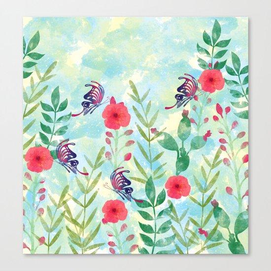 Watercolor floral garden Canvas Print