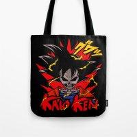 dbz Tote Bags featuring Goku Skull DBZ by offbeatzombie