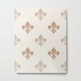 Fleur de lis Pattern – Neutral Brown and Biege Earth Tones Metal Print