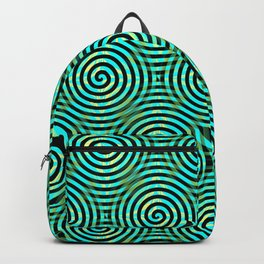 Blue Green Spirals Pattern Backpack