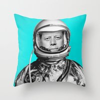 "jfk Throw Pillows featuring JFK ASTRONAUT (or ""All Systems Are JFK"") by Dan Levin's Objects of Curiosity"