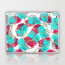 Abstract Aqua Blue Pink and Faux Gold Brushstrokes Laptop & iPad Skin