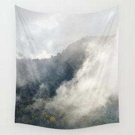 Foggy sunrise at the mountains. Autumn dreams Wall Tapestry