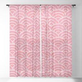Japanese Seigaiha Wave – Powder Pink Palette Sheer Curtain