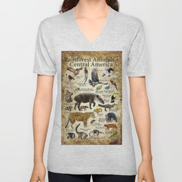 Rainforest Animals of Central America Unisex V-Neck