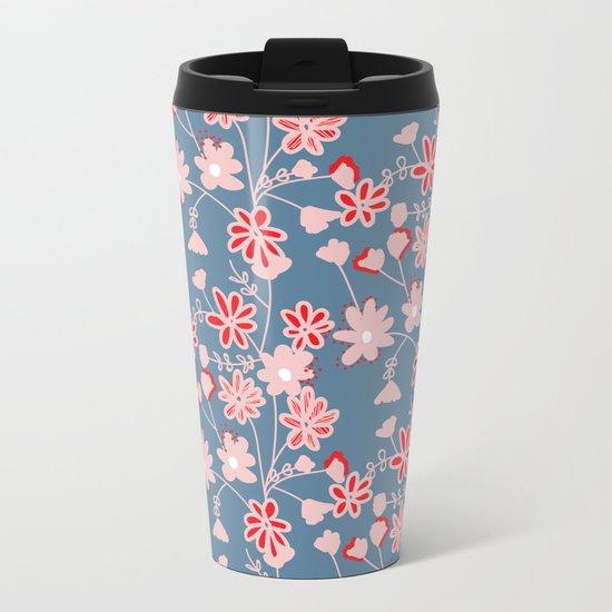 Red-Pink Flower Pattern Metal Travel Mug