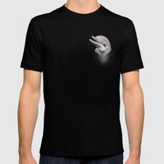 POCKET DOLPHIN Mens Fitted Tee Black MEDIUM
