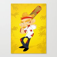 shaun of the dead Canvas Prints featuring Shaun of the Dead by Mike Spiers Art Store