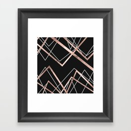 Rose Gold Black Linear Triangle Abstract Pattern Framed Art Print