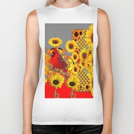 MODERN ABSTRACT RED CARDINAL YELLOW SUNFLOWERS GREY ART Biker Tank