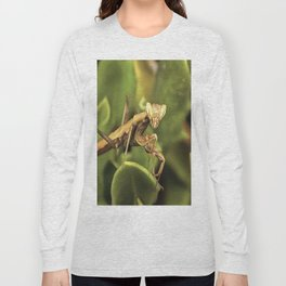 Praying Mantis On Green Garden Background Long Sleeve T-shirt