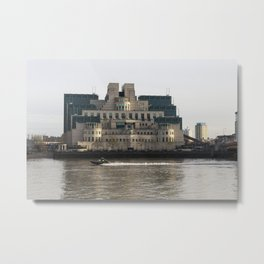 SIS Secret Service Building London And Rib Boat Metal Print