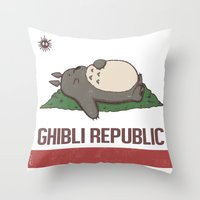 ghibli Throw Pillows featuring Ghibli Republic by Li.Ro.Vi