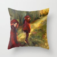 agnes Throw Pillows featuring Agnes - Autumn by Dawn Dudek