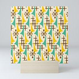 Retro Mid Century Modern Atomic Wing Pattern 427 Brown Yellow and Green Mini Art Print
