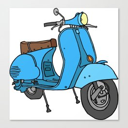 Blue motor scooter (vespa) Canvas Print
