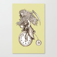 Father Time on a Penny Farthing Canvas Print