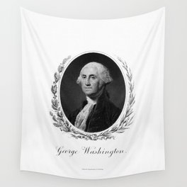 Engraving and anonymous portrait of George Washington Wall Tapestry