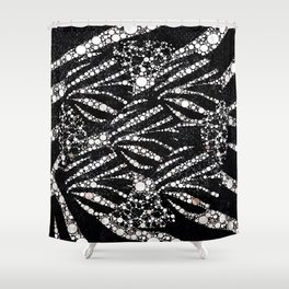 Black&Silver Abstract Bling Pattern  Shower Curtain