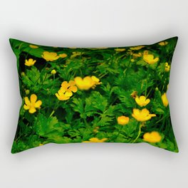 Working on a yellow flower Rectangular Pillow