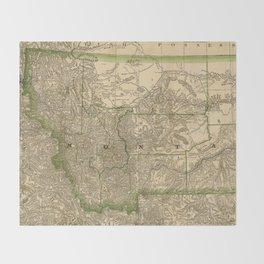 Vintage Map of Montana (1881) Throw Blanket