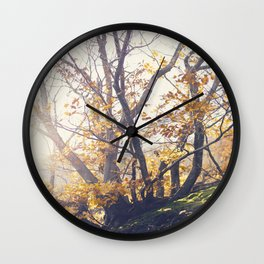 Dreamy yellow forest Wall Clock