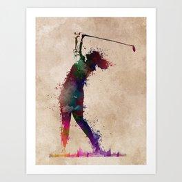 Golf player art 2 Art Print