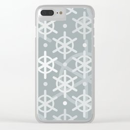 Mid Century Modern Snowflakes Silver Clear iPhone Case