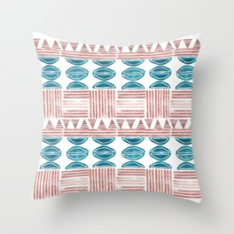 Blush and Blue Throw Pillow