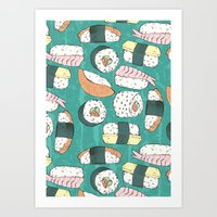 sushi Art Prints featuring Sushi by Abi Woodhouse
