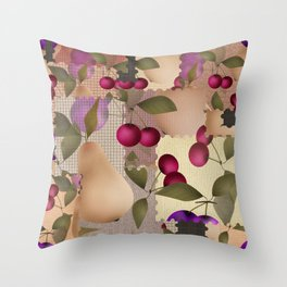 Old scraps of fabric with fruit . Throw Pillow
