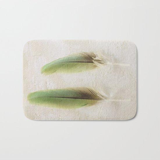 Green Feathers Bath Mat
