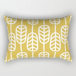 Feather Leaves Minimalist Pattern in White and Light Mustard Rectangular Pillow