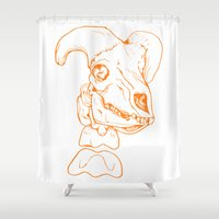 animal skull Shower Curtains featuring Skull by Chloe Howard