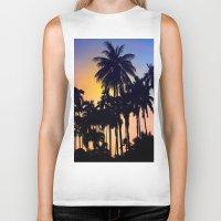 palm tree Biker Tanks featuring palm tree by mark ashkenazi