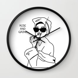 Rise and Grind Line Drawing Wall Clock