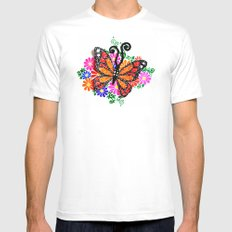 Orange Butterfly Mens Fitted Tee White SMALL
