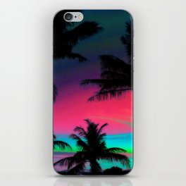 Deep Pink Palm Tree Sunset iPhone Skin