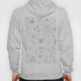 Spring watercolor leaves & tulips on white background Hoody