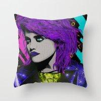 sky ferreira Throw Pillows featuring SKY  by AZZURRA DESIGNS