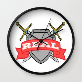 "A Real Tee For A Warrior You Saying ""Stay Real"" T-shirt Design Sword War Shield Strong Brave Coward Wall Clock"