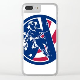 American Lineworker USA Flag Icon Clear iPhone Case
